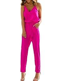 Forh Damen elegant Blumen Drucken Jumpsuit Bodysuit Overall Reizvolle  Ärmellos kurz Crop Tops BH T-Shirt Mit Bodycon Clubwear Hose… b568510398