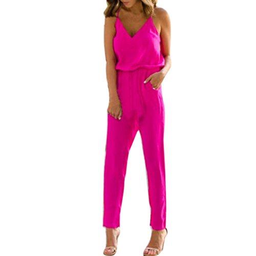 FORH Damen elegant Blumen Drucken Jumpsuit Bodysuit Overall Reizvolle Ärmellos kurz Crop Tops BH T-Shirt Mit Bodycon Clubwear Hose Romper Overall (S, Rose Rot)