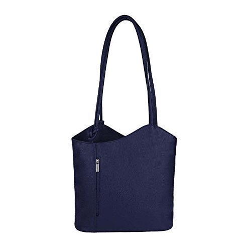 OBC MADE IN ITALY ledertasche-rucksack Strauss Prägung BORSETTA DA DONNA 2 in 12 in 1 Borsa a tracolla borsa a bauletto a Tracolla Tablet/iPad circa 10-12 pollici 27x29x8 cm ( BxHxT ) blu scuro