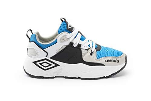 Umbro Run M, Scarpe da Fitness Uomo, Blu (White/Black/Ibiza Blue/Grey Hus), 41 EU