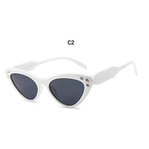 KCJKXC Weiße Cat Eye Sonnenbrille Frauen Sonnenbrille Luxus Marken Vintage Brille Elegante Top Kristall Kunststoff Sonnenglas