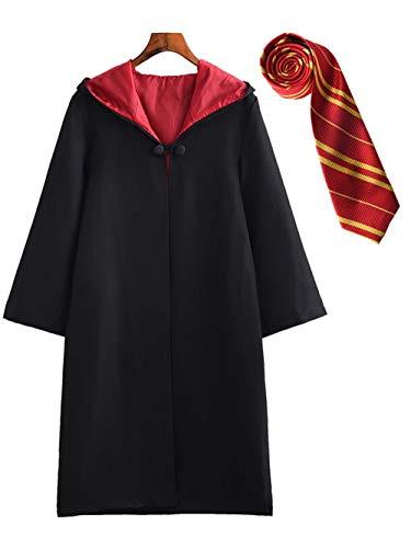 DJSJ- Niños Cosplay Disfraz Capa Vestido de graduación Uniforme Uniforme Escolar Negra Adulto Vestido Fiesta Carnaval cumpleaños Regalo Corbata