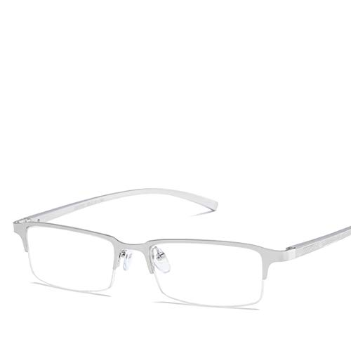 Mkulxina Metall-Brille Anti-Blue-Brillen halbrund Brillen Männer Frauen (Color : Silver)