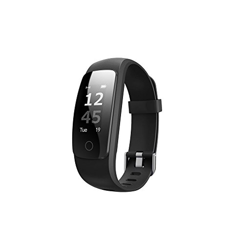 Colorful Bluetooth Fitness Armbänder ID107 plus Fitness Armband Fitness Tracker Smartwatch für Android IOS Smartphone (Schwarz)