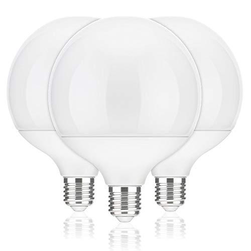 ledscom.de E27 LED Globe Birne Globe (12cm Kopfdurchmesser) 17W =104W 1400lm 230° weiß (4100K), 3 STK.