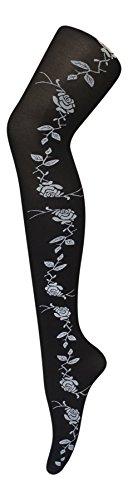 Donna 40 Denier nero opaco delle calzamaglia Collant rose Designs un formato, 36-42 eur, 8-14 (Invisibile Opaco)