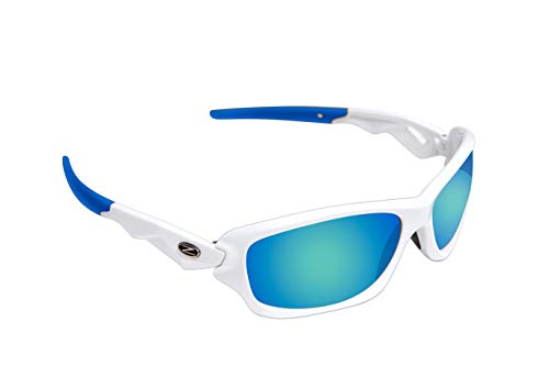 Rayzor Professionelle Leichte UV400 Silber Sports Wrap Ski- / Snowboard Sonnenbrille, mit einem blauen / Grün Iridium Revo Anti-Glare-Objektiv. (Größe Klein).