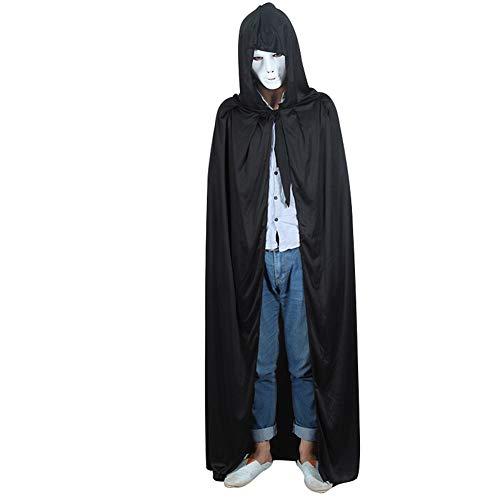 Halloween Umhang mit Kapuze Weiße Maske für Unisex Party Cosplay Alter Adel Customes