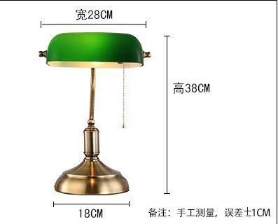 DZXYA  Antico verde antico paralume in vetro lucido bronzo retrò studio camera da letto lampada da tavolo