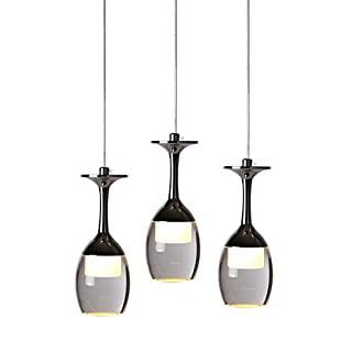 KJLARS 3W X 3 Weinglas LED Pendelleuchte Hängelampe für Wohnzimmer- Bar Salon Esszimmer warmweiß Leuchtmittel Hängeleuchte