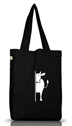 Shirtstreet24, Half A Cow, Serien Jutebeutel Stoff Tasche Earth Positive (ONE SIZE) Black