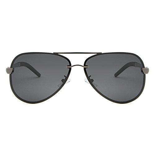 Sonnenbrillen Mode Modemarke Designer Sonnenbrille Semi-randlose Polarisierte Vintage Herren Sonnenbrille Spiegel Fahren Sonnenbrille Brillen Zubehör Shades (Color : Gun+Gray)