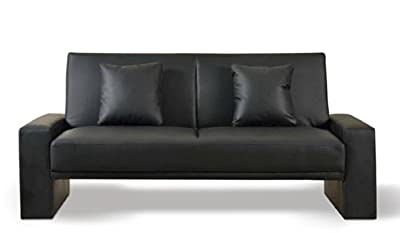Black Faux Leather Supra Sofa Bed - low-cost UK sofabed shop.
