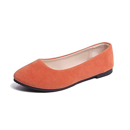 GODGETS Damen Geschlossene Ballerinas Klassische Flache Elegant Schuhe,Orange,40 EU - Frauen Schuhe Ballerinas Orange