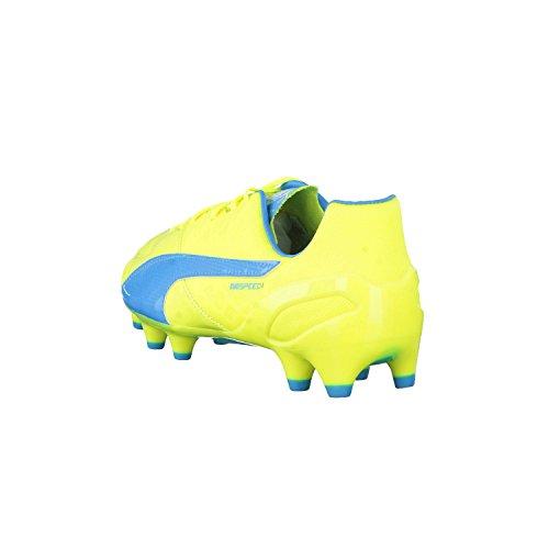 Puma Evospeed 1.4 Lth Fg, Chaussures de football homme Jaune fluo/bleu