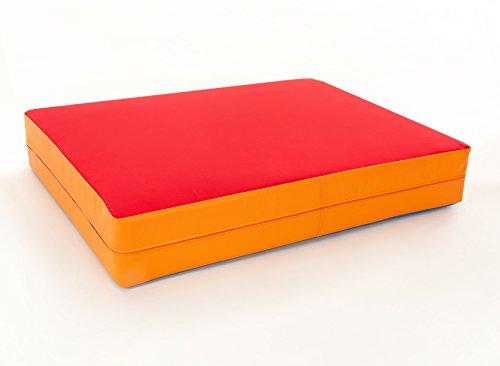 FLIXI Hüpfmatratze - ab 1 Jahre - Turn Matte für Kinder - Spiel Matratze zum Toben - Hüpfen - Balancieren Rot/Orange