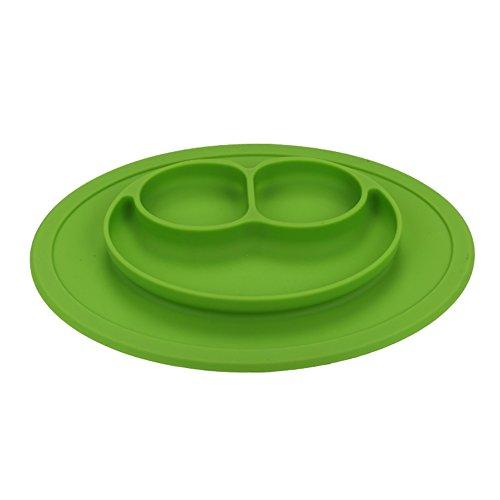 Silicona Plato llano grado silicona succión antideslizante portátil dividido sección sonrisa infantil bebé alimentación bandeja plato, bol verde
