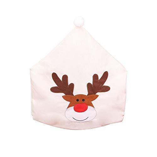 Shuda 1 Stück Esszimmersitze mit Stoff in Elk-Form, aus Stoff, Weiß, für Weihnachtsdekoration, 60 x 50 cm (Black Friday Deals)