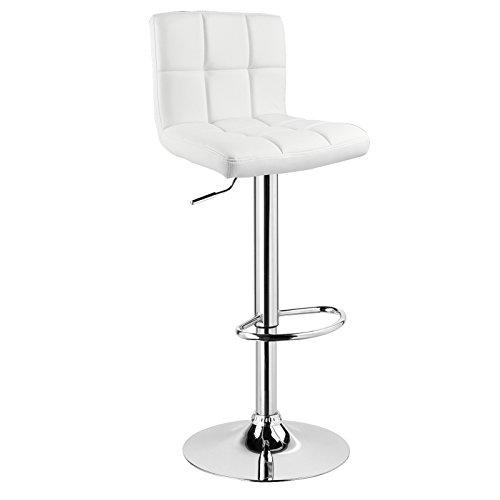 Woltu 9108-1 sgabello da bar sedia alta con schienale quadrato poggiapiedi similpelle cromato altezza regolabile girevole per cucina ristorante moderno 1 pezzo bianco