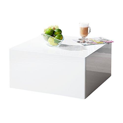 Puristischer Design Couchtisch MONOBLOC L weiß Hochglanz quadratisch Tisch - Quadratischer Couchtisch Weiß