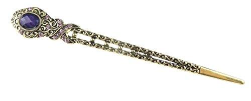 Pour femme 15 cm en métal de bronze rétro Pierre de Cristal orné Bijoux cheveux Bâtons broches