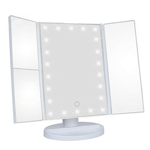 HP-YSH Make Up Mirror 1X/2X/3X Magnifying Light Up Mirror, Tri-fold LED Illuminated Tabletop Vanity Mirror with Lights, Touch Screen Dimming 180 Rotation (White/Black/Rose Gold) -