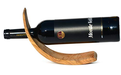 Flaschenhalter VINO aus fein gemasertem Olivenholz. 26,5 x 8 cm. Original Figura Santa Qualität.