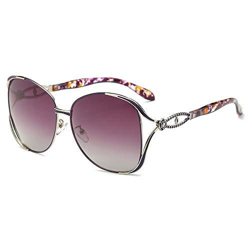 AMZTM Polarisierte Sonnenbrille für Damen Mode Metall Geschnitzten Rahmen - Women Gläser Fahren 100% UV400 Schutz (Lila Rahmen Farbverlauf Lila Linse)