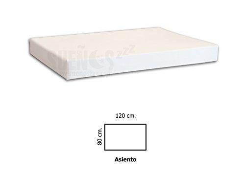 SUENOSZZZ- Asiento de HR para palet. Enfundado en Polipiel Blanco. Exterior e interior. 120 x 80 x 10