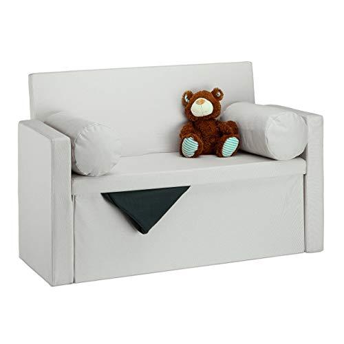 Relaxdays 10022872_550 Panca con Schienale Reclinabile, Cuscini, Pouf Contenitore per Ingresso, Corridoio, 75x115x47cm, Crema