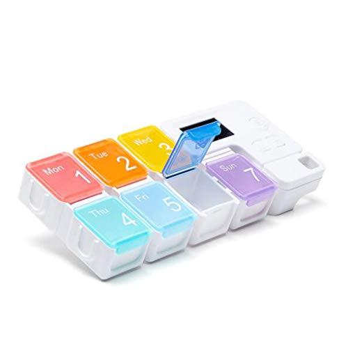 FHUILI 7-Tage-Pille-Kasten Tragbare Sealed Feuchtigkeitssichere elektronische Zeit Erinnerung Smart-Pill Box - Vitamin Medizin Tablettenspender Organizer - Wochenaufbewahrungskoffer,A -