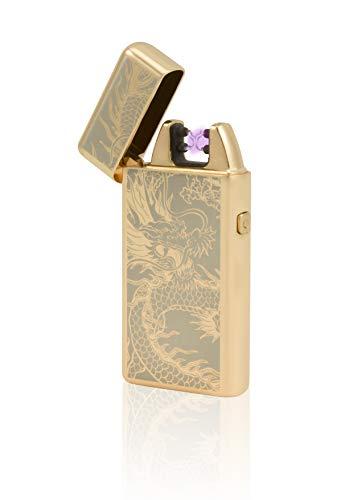 TESLA Lighter T05 Lichtbogen Feuerzeug, Plasma Double-Arc, elektronisch wiederaufladbar, aufladbar mit Strom per USB, ohne Gas und Benzin, mit Ladekabel, in Edler Geschenkverpackung, Gold Drache