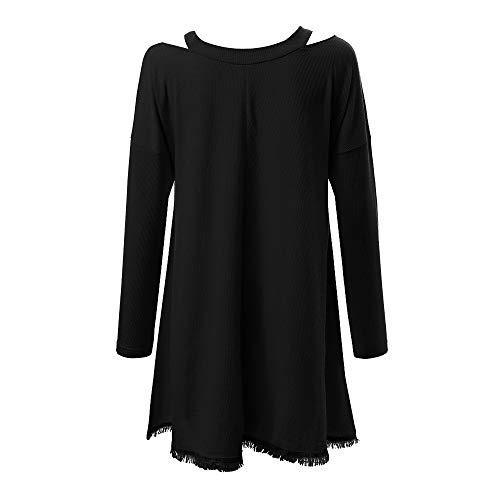 MIRRAY Damen Winter V-Ausschnitt Langarm Quaste aus der Schulter Solide Tops Bluse T-Shirt Schwarz Weiß Rosa