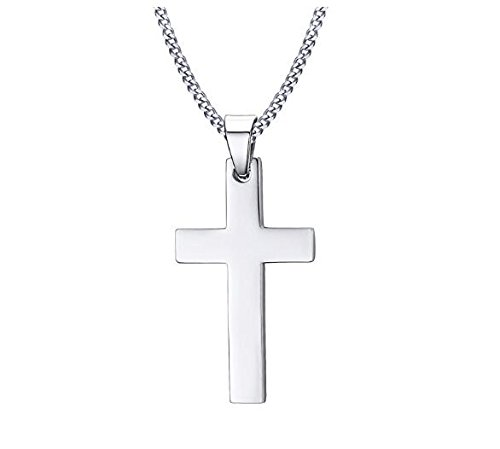 Mindruer Collar con colgante de cruz de acero inoxidable para hombre (plata)