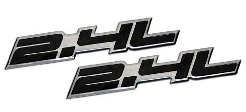 2 x (pair/Set) 2.4L Liter Embossed BLACK on Highly Polished Silver Real Aluminum Auto Emblem Badge Nameplate for Honda Accord Civic LX SE EX EX-L CR-V CRV CRX Element AWD K24 Acura ILX TSX RSX Toyota Camry Tacoma RAV4 Matrix S Model Scion xB tC Kia Forte Optima Sorento Sportage Rondo Mitsubishi Galant Eclipse GS Lancer Evo Evolution Outlander Hyundai Santa Fe Sonata Tucson Nissan 240SX Altima SE Frontier Porsche 911 T Turbo Turbocharged Volvo S40 S60 V50 V70 SUV Sport Utility sedan coupe FWD AWD