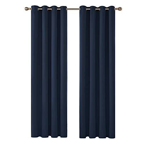 Deconovo tende camera da letto oscuranti termiche isolanti con occhielli per interni 140x290 cm 2 pannelli blu navy