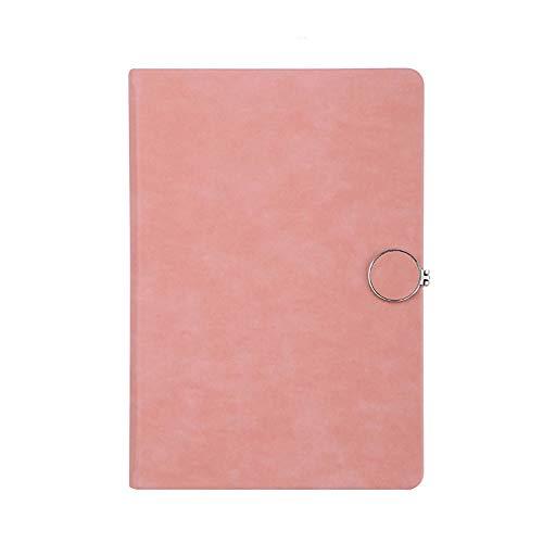 Miyabitors Notebook, Schnalle A5 Büro Notizblöcke, Leder Gepolsterte Weiblichen Geburtstags Bücher, 100g Daolin Papier, 14.5 * 20.9cm Einfach, Dieses Buch Zu Tragen (Color : Pink) -