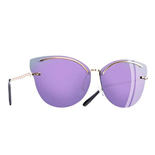 cool show Katzenaugen-Sonnenbrille, modisch, reflektierend, randlos, Legierung Gr. Einheitsgröße, C5purple