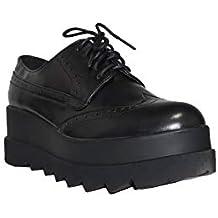 GUAPISSIMA - Zapato Inglés Plataforma XXL JM-E246 Zapatos Oxford Mujer Negro Plataforma Cómodos Elegantes