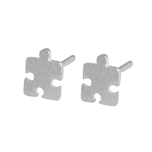 lureme® Sterling Plata Iced Out Puzzle Piece Stud Aretes (er005387)