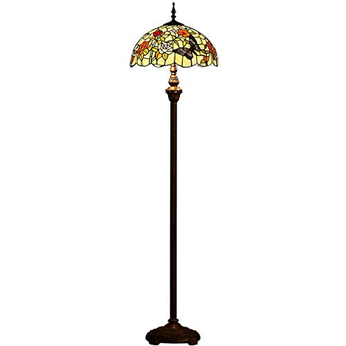 YJFFAN European Retro Tiffany Style 16 Inch Floor Lampe, Gardens Stained Glass Handcrafted Lights for Living Room Study Bedroom Bedroom Floor Light Pull Chain Switch E27, 110-240v