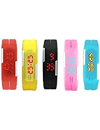 VITREND Silicon Bracelet Digital Watches For Women, Men And Kids Set Of 5 -Best Suitable For Kids