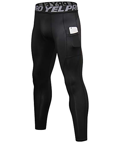 Pantalon de Compression Homme Legging de Sport Baselayer Jogging Workout Fitness Gym Yoga Collants avec Poche Noir M