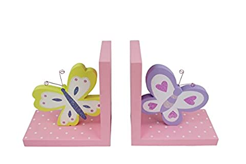 Hoddmimis Home & Living Bicolor Butterflies Themed Wooden Bookends for Kids (Set of 2)
