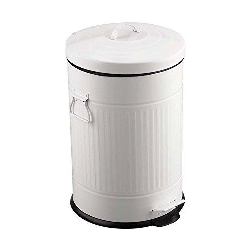 Balvi Cubo Basura Basics Color Blanco con Cubo extraíble de 20L con Pedal con Asas Diseño Retro INOX/plástico...