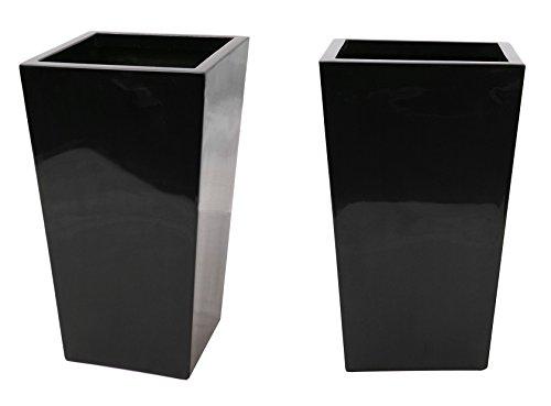 Grand Cache Pot Cubique en Fibre de Verre Noir et Gel - Petit