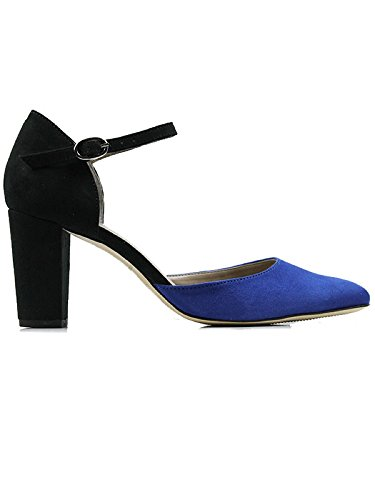Will's Vegan Shoes BLOCK HEELS BLACK/BLUE-3 UK/36 EU/5 US