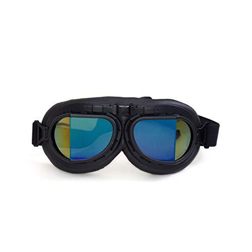 Adisaer Fahrradbrille Winter Lokomotivenbrillen Retro Weltkrieg Brillen Lokomotiven Motorradbrillen Sand Proof Schutzbrillen Black Box Black Colorful Damen Herren