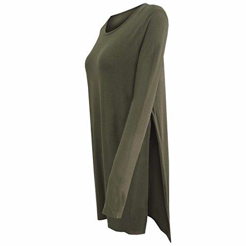 Colore Solido Maglietta Furcal Donne Misti Cotone A Maniche Lunghe Cime Modello Sciolto Verde