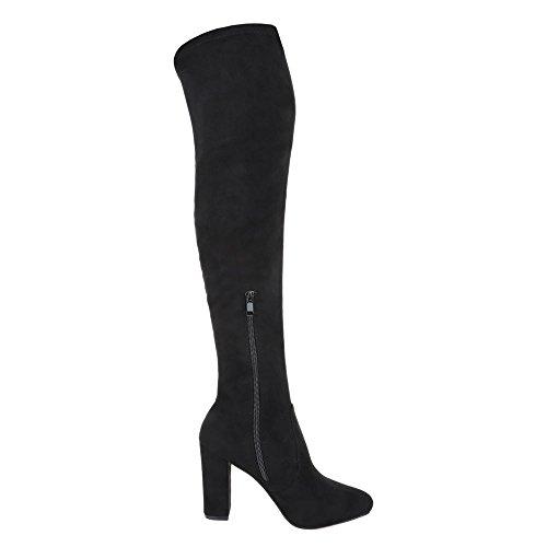 Overknee Stiefel Damen Schuhe Klassischer Stiefel Pump Moderne Reißverschluss Ital-Design Stiefel Schwarz fsQlLgko